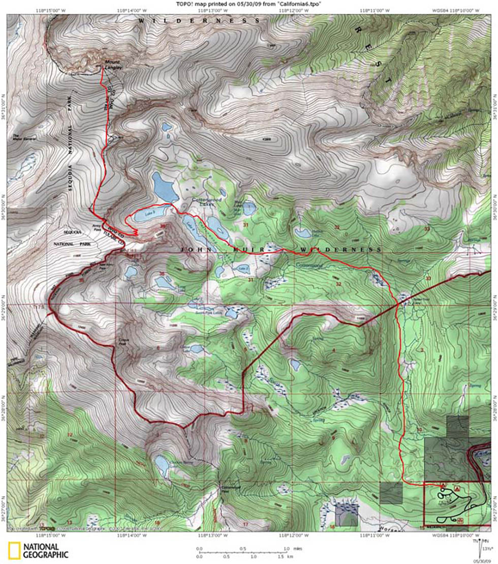 Mount Langley Cottonwood Lakes Army Pass Trail - Mt topo maps