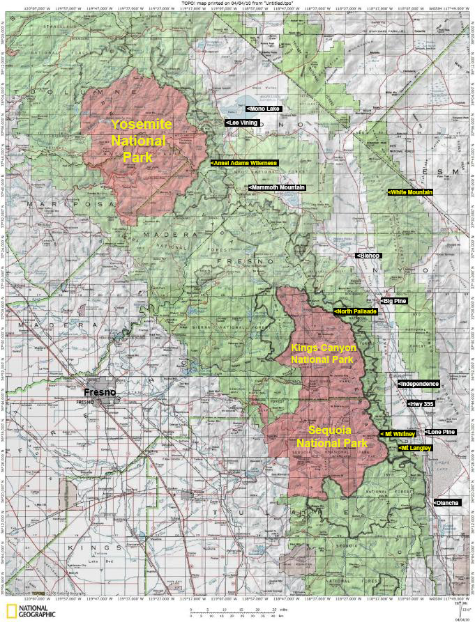 sierra nevada mammoth lakes map images