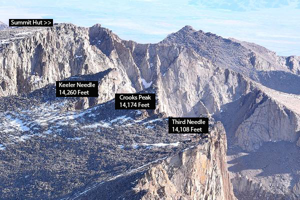 Moving along we not see an aerial photo I took showing the tops of Keeler  Needle, Crooks Peak, (formally known as Day Needle) and Third Needle (along  with ...