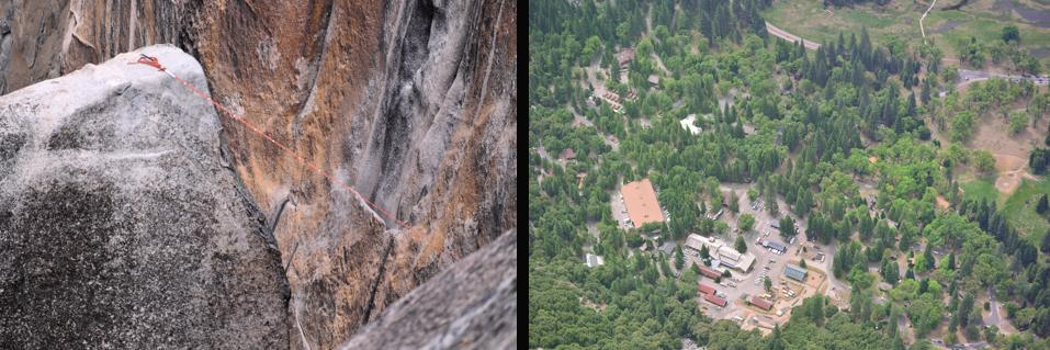 Lost Arrow on Left and Yosemite Village on Right Image