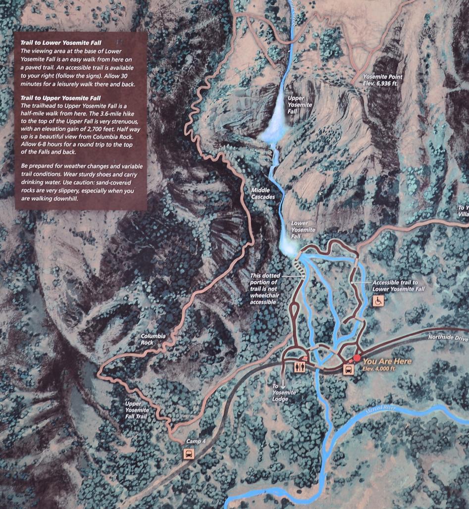 Yosemite falls trail yosemite falls map publicscrutiny Choice Image